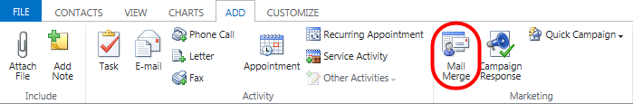 Dynamic CRM 2013 - Mail Merge - 01.png